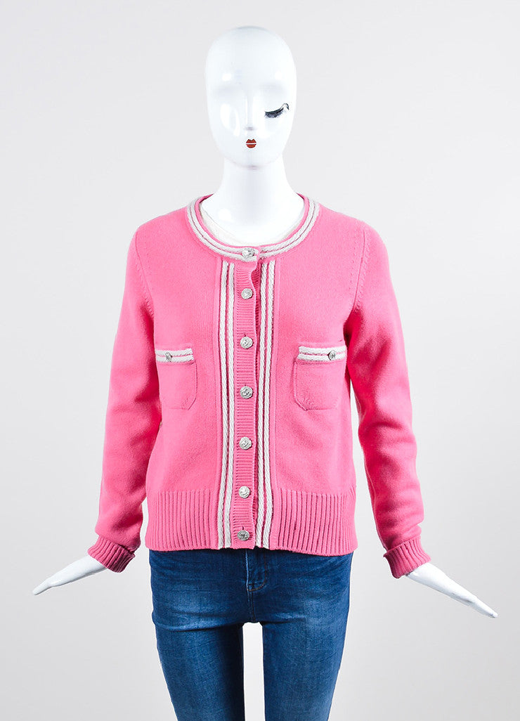 Pink and White Chanel Cashmere Silver Toned 'CC' Button Up Rib Knit Cardigan Frontview 2