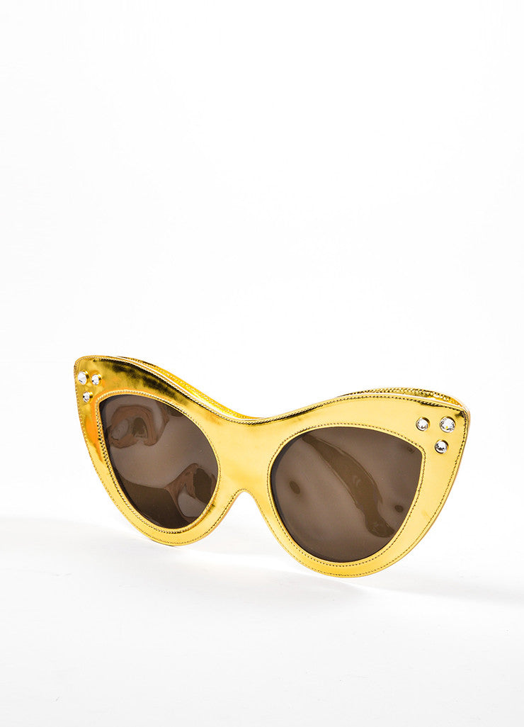 Charlotte Olympia Gold Metallic Leather Rhinestone Oversized Sunglasses Clutch Bag Sideview