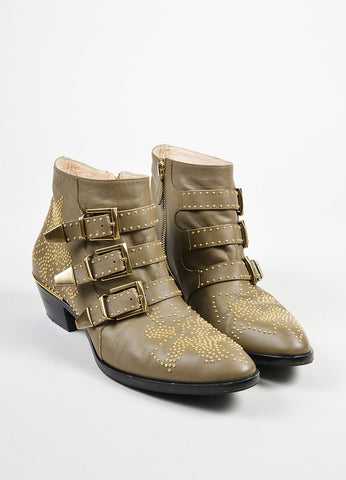 "Khaki Tan Leather Gold Toned Stud •ÈÀChloe ""Susanna"" Ankle Boots Frontview"
