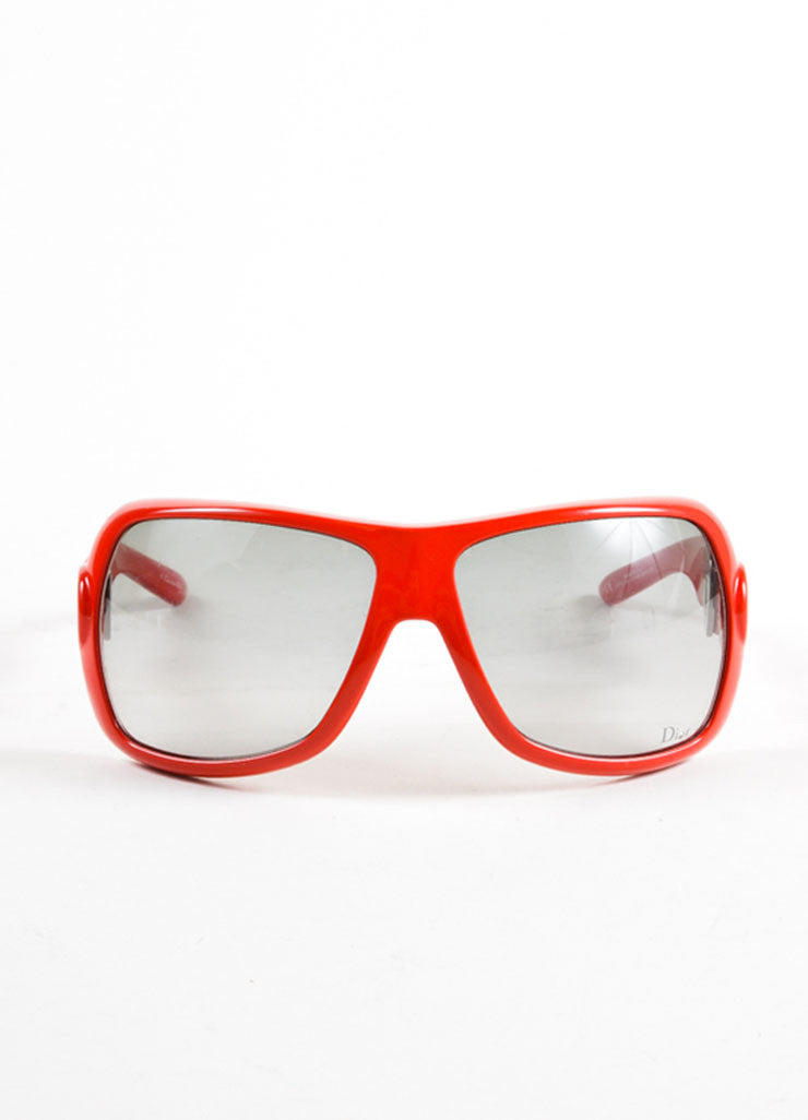 "Christian Dior Red Oversized Frame Heart Arm Detail ""Dior Lock"" Sunglasses Frontview"