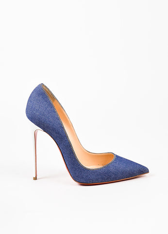"Christian Louboutin Blue Denim White Leather Heel ""So Kate"" Pointy Pumps Sideview"