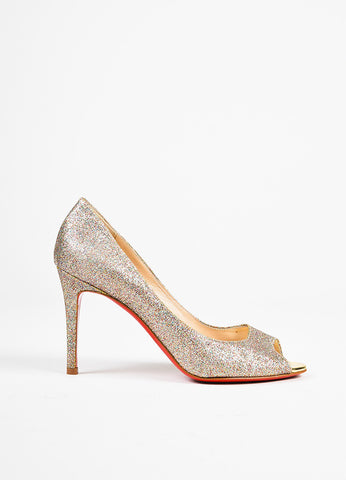 "Christian Louboutin Multicolor Mini Glitter ""You You 85"" Peep Toe Pumps side"