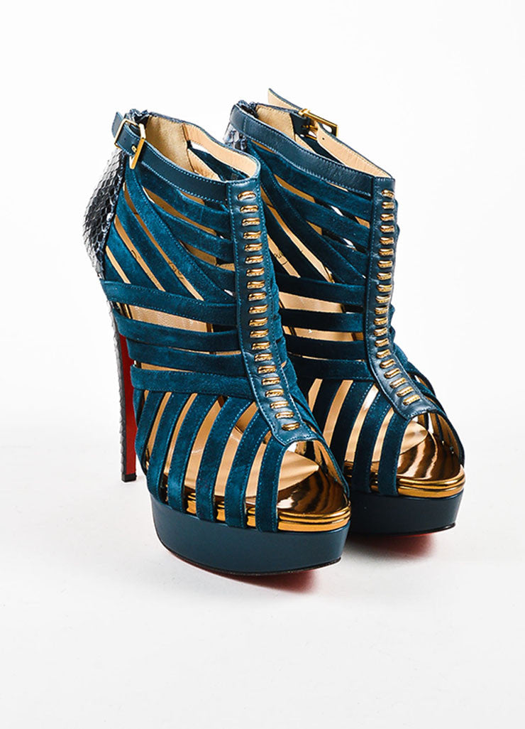 "Blue Watersnake Christian Louboutin ""Karina 150"" Peep Toe Heels Frontview"