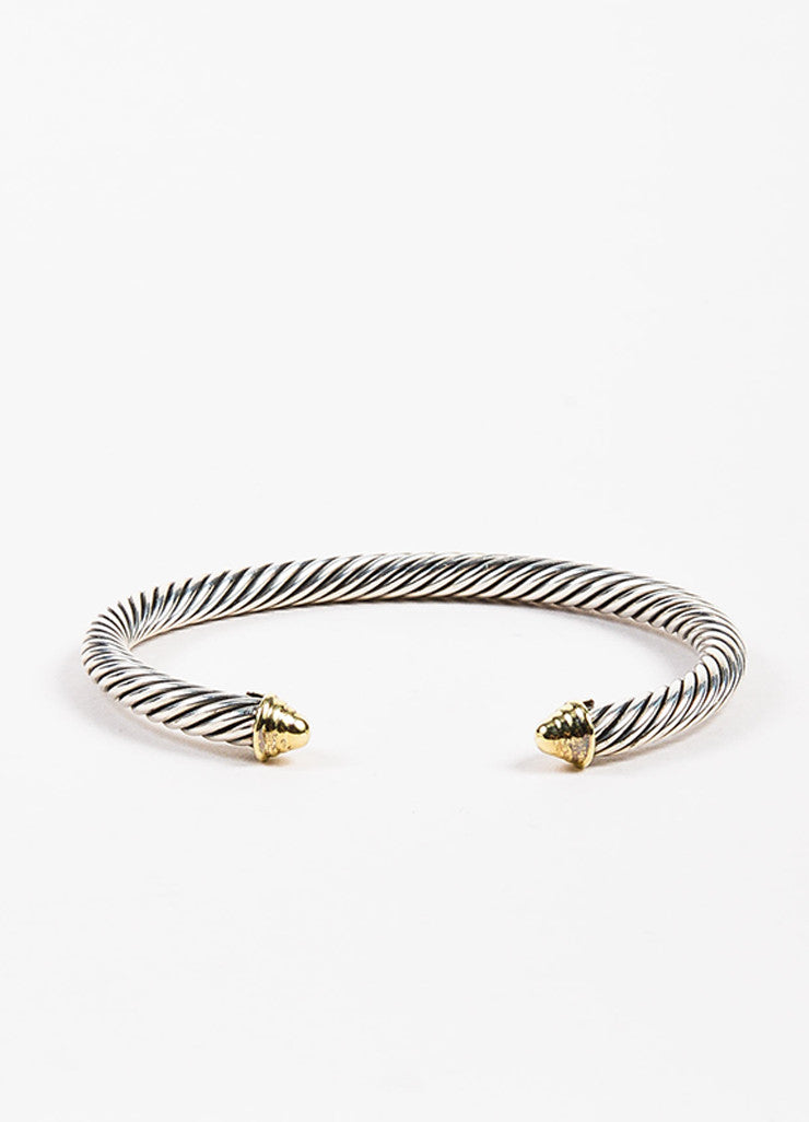 "David Yurman 14K Yellow Gold Sterling Silver ""Cable Classic"" Bracelet Front"
