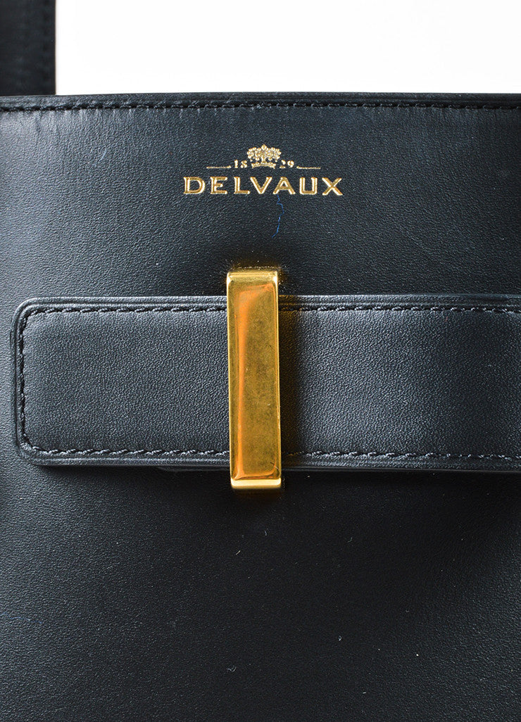 "Black Leather Delvaux  ""Simplissime"" Oversized Tote Bag Brand"