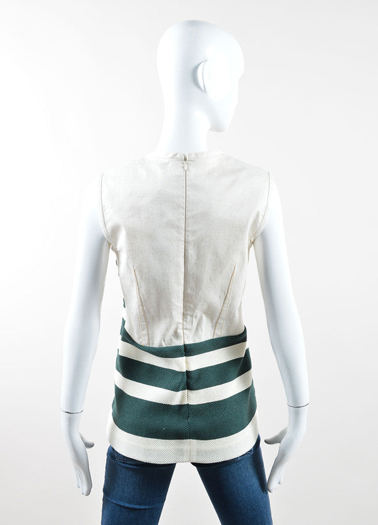 Derek Lam Green and Cream Striped Sleeveless Top Back