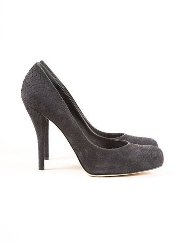 "Dior Black Suede Leather Scaled Python Print ""Miss Dior"" Pumps Sideview"
