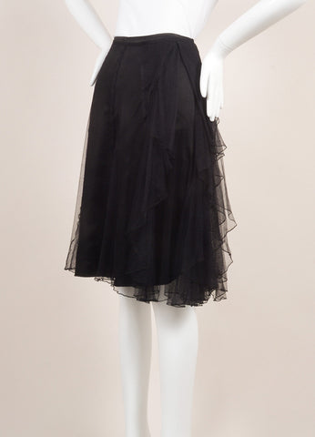 Dries Van Noten Black Silk and Mesh Tulle Ruffle Trim Skirt Sideview