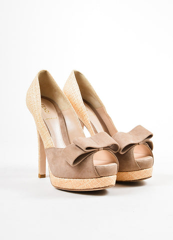 å´?ÌÜFendi Beige and Taupe Straw Suede Bow Peep Toe Platform Pumps  Frontview