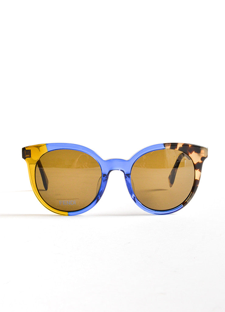 "Fendi Blue and Tortoise Plastic ""FF 0064S"" Two Tone Round Sunglasses Frontview"