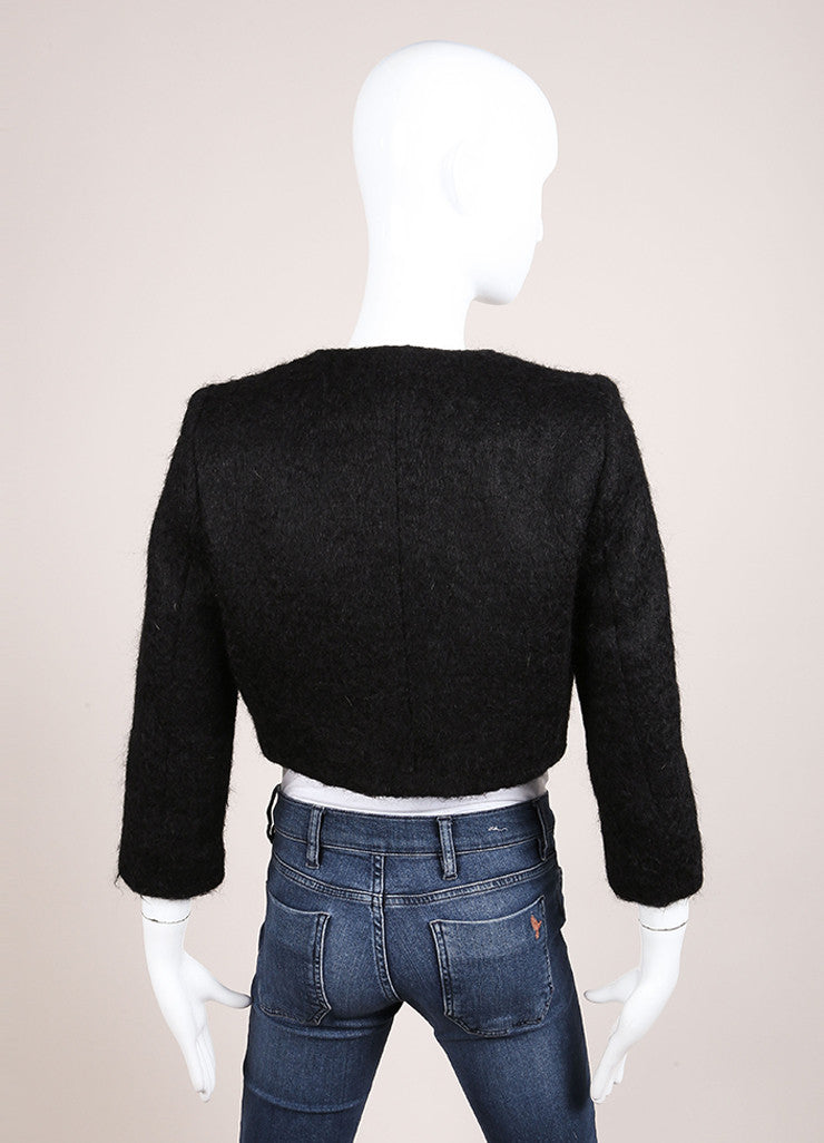 Giambattista Valli Black Wool Blend Fuzzy Cropped Jacket Backview