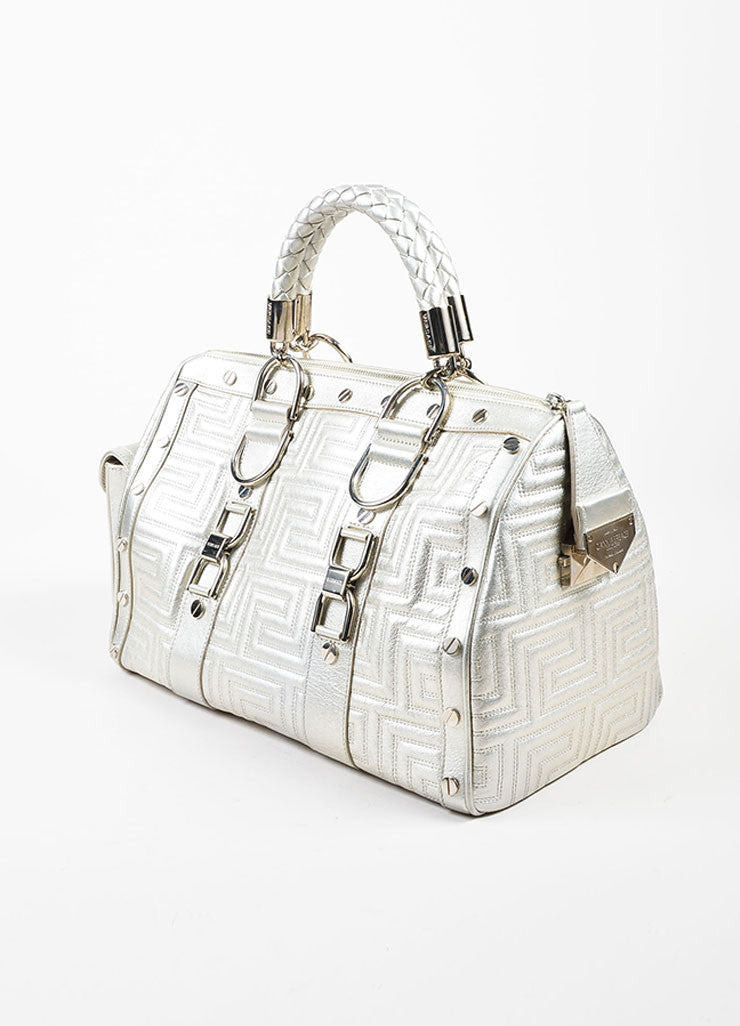 Gianni Versace Couture Silver Leather Quilted Braided Handle Screw Stud Handbag Sideview