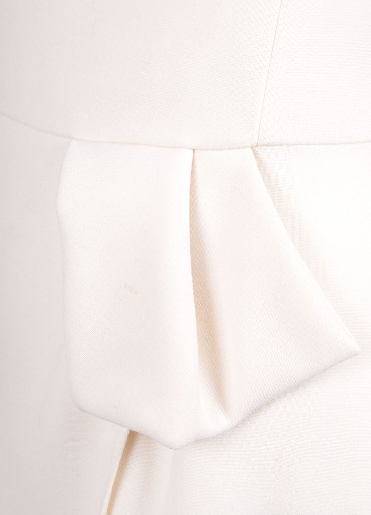 Giorgio Armani Cream Pleated Bow Wrap Sleeveless Shift Dress Detail
