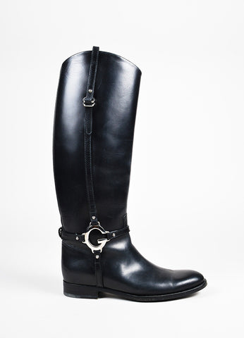 "Gucci Black & Silver Tone Leather ""New Charlotte"" Riding Boots side"