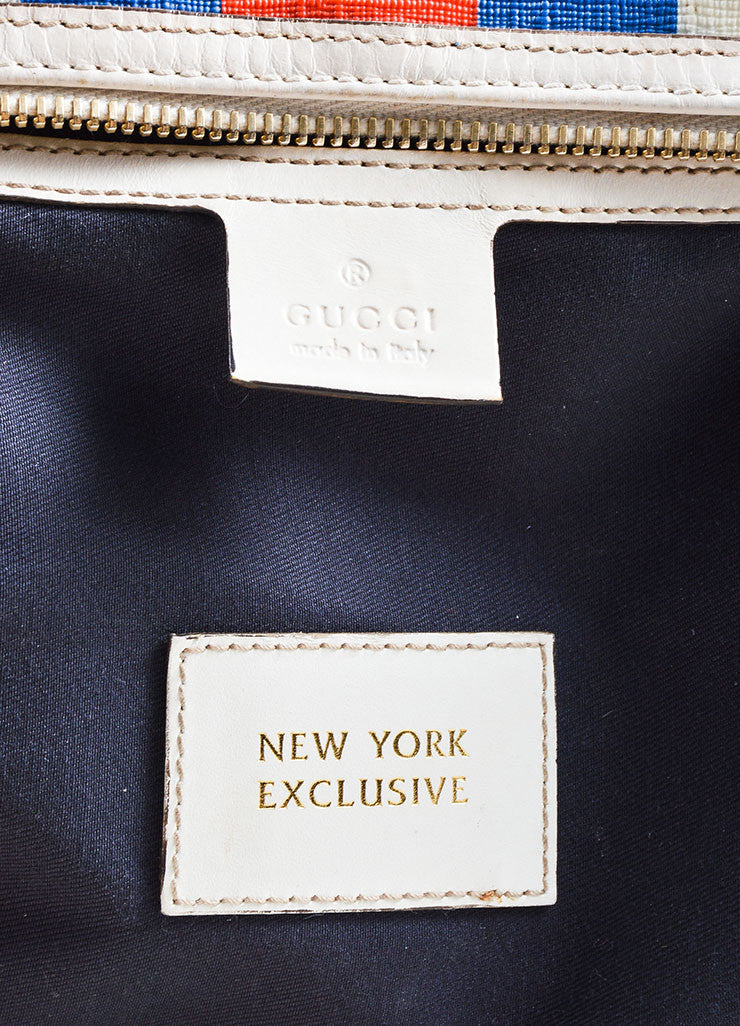 "Cream, Blue, and Red Gucci Coated Canvas Monogram Stripe ""Loves NY"" Boston Bag Brand"