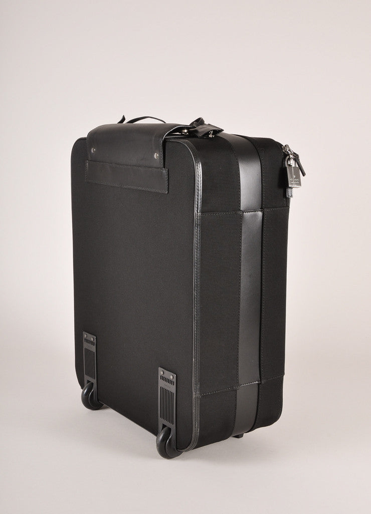 Gucci Black Canvas Carry-On Rolling Suitcase Sideview