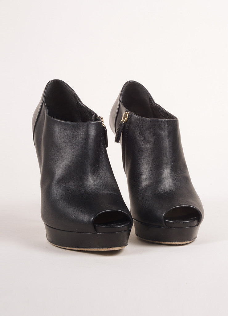 Gucci Black Leather Peep Toe Platform Heeled Ankle Booties Frontview