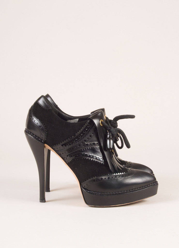 "Gucci Black Suede Leather Kiltie Tassel ""Riddle"" Platform Booties Sideview"
