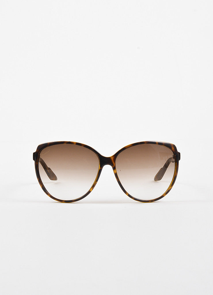 Gucci Brown Tortoise Shell Gradient Lens Web Temple Cat Eye Sunglasses Frontview