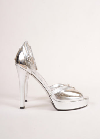 Gucci Metallic Silver Patent Leather Metal Ankle Strap Open Toe Heels Sideview