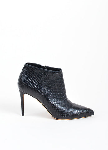 "Black Gucci Python ""Brooke 95mm"" Pointed Toe Booties Sideview"