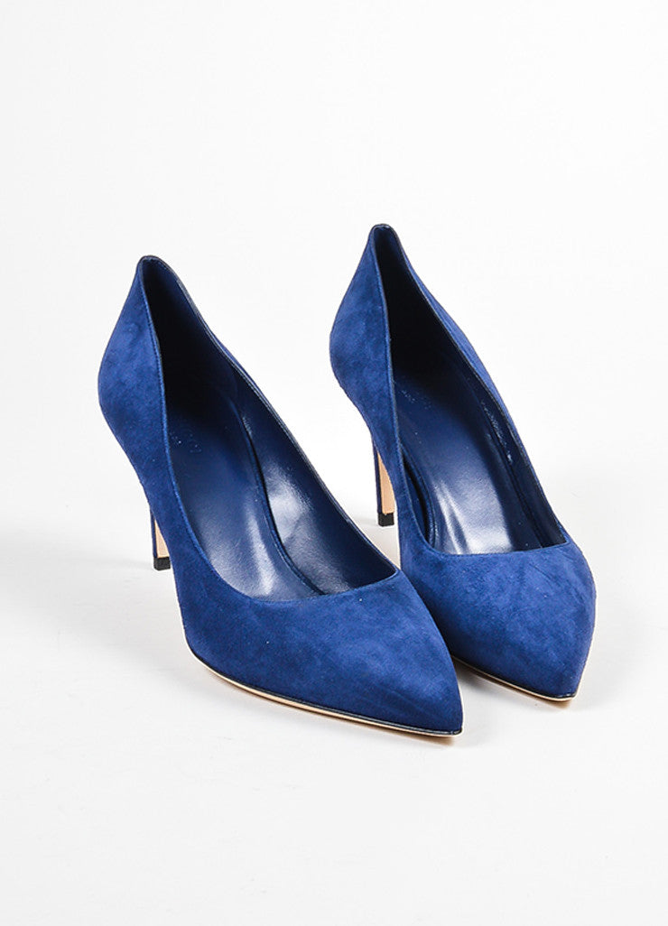 "Navy Blue Gucci Suede Pointed Toe ""Brooke 75mm"" Pumps Front"