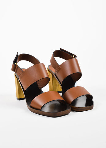 "Brown Gucci Leather Gold Tone Chunky Low Heel ""Querelle"" Sandal Front"