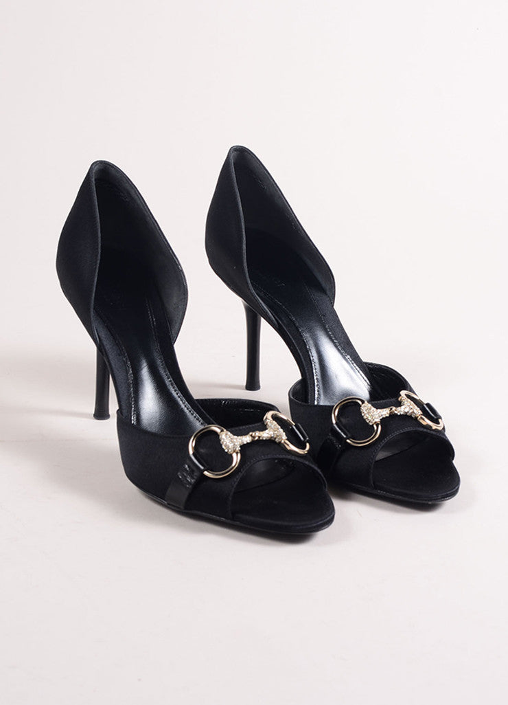 Gucci Black Satin Horsebit Buckle Rhinestone Peep Toe D'Orsay Pumps Frontview
