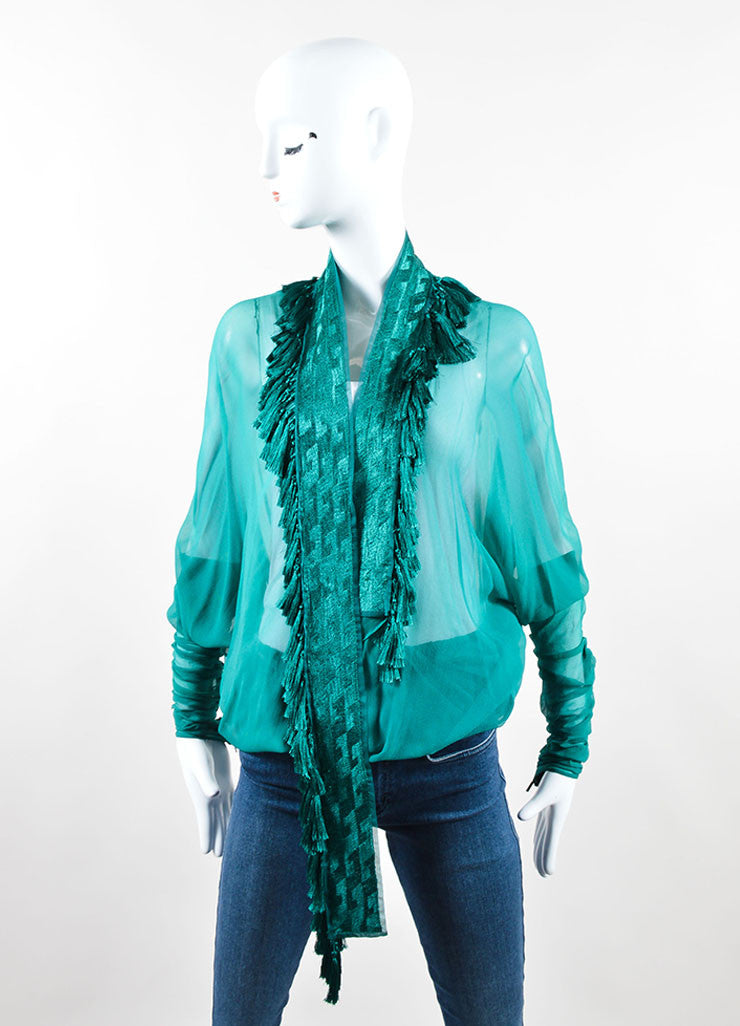 Gucci Green Chiffon Embroidered Tassel Dolman Sleeve Beach Wrap Frontview