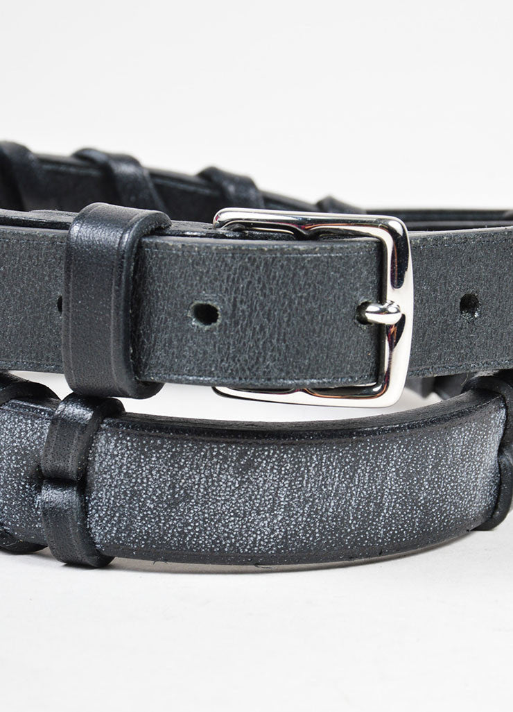 Black and Silver Toned Hermes Leather Braided Dual Buckled Belt Detail