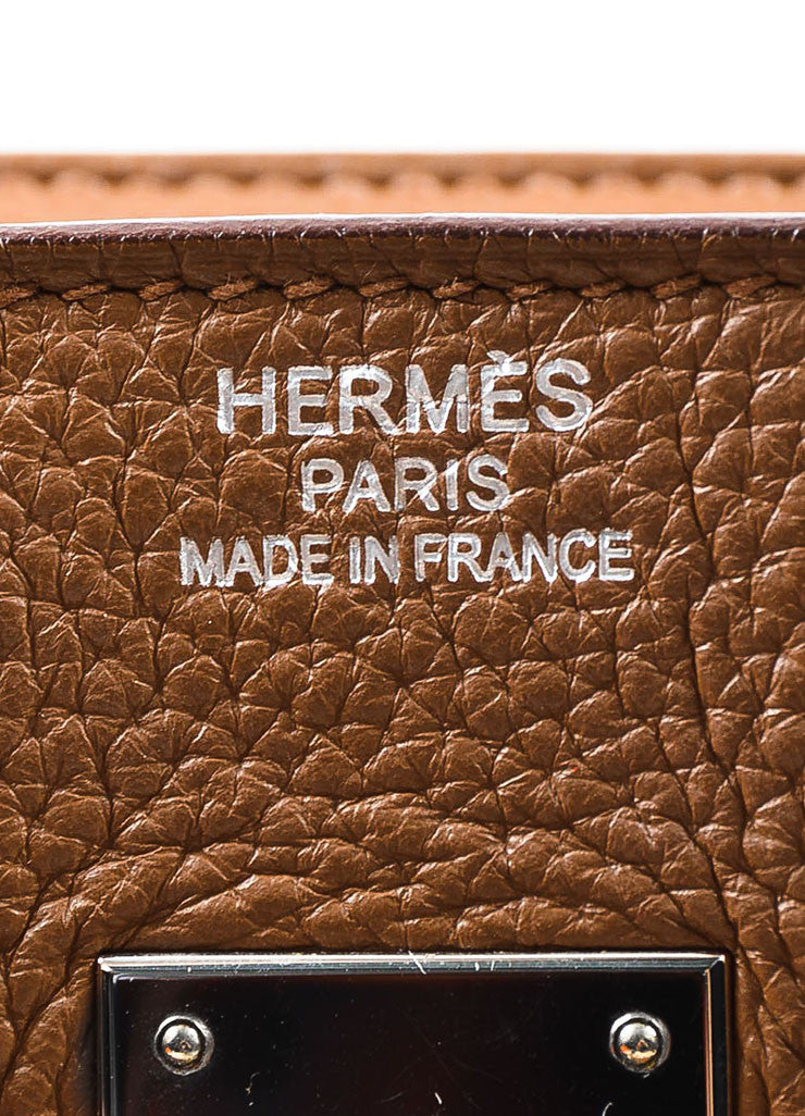 "Hermes ""Alezan"" Brown Clemence Leather Silver Toned Hardware 35 cm ""Birkin"" Bag Brand"
