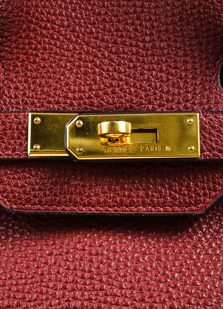 "Hermes Red ""Rouge"" Clemence Leather Flap ""Birkin"" Bag"