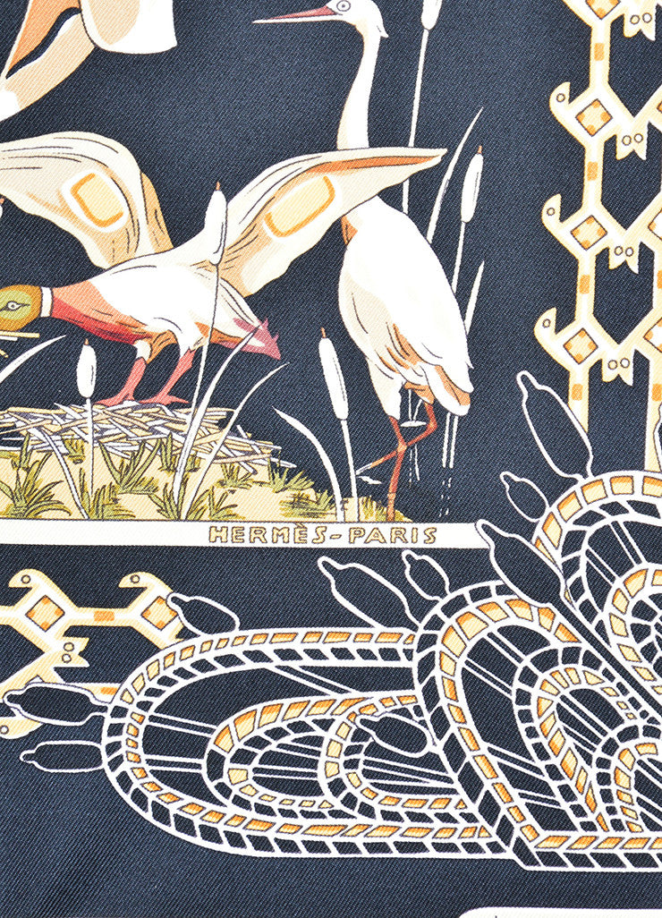 "Hermes Black and Gold Silk Twill ""Libres Comme l'Air"" Duck Print 90cm Scarf Brand"