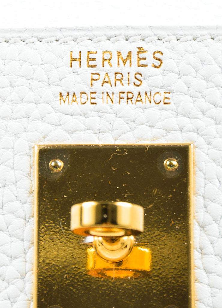 "Hermes Blanc White Clemence Leather Gold Toned Hardware ""Kelly"" 35cm Bag Brand"