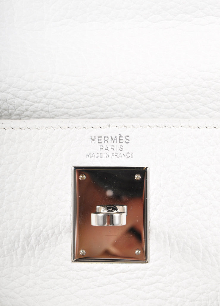 "Hermes New Without Tags White and Silver Toned Togo Leather 32cm Two Way ""Kelly"" Bag Brand"