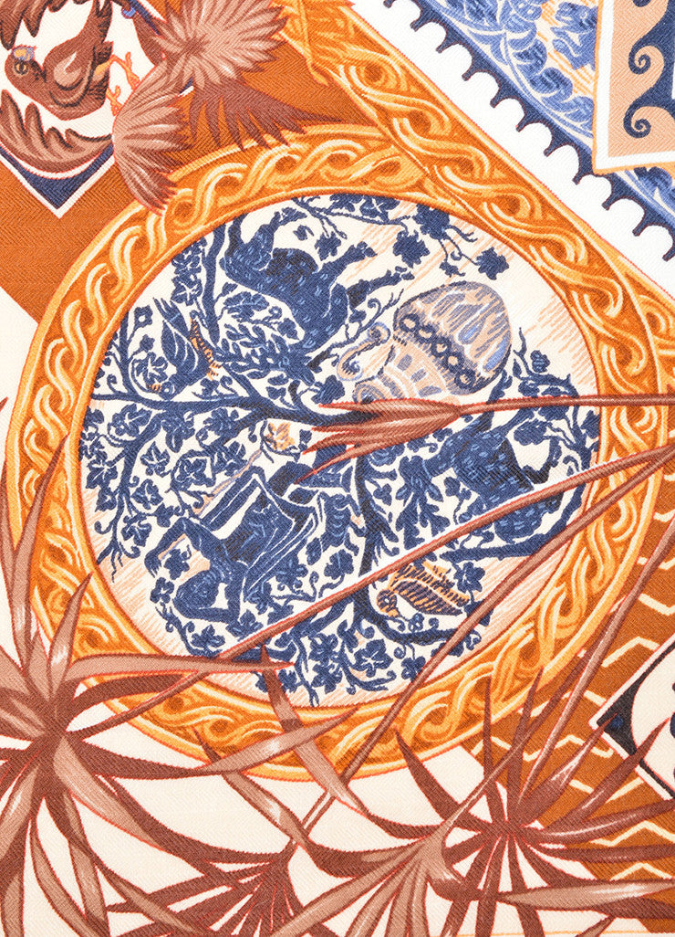 "Hermes Navy and Brown Cashmere and Silk ""Le Jardin des Copte"" Exotic Print 90cm Scarf Detail"