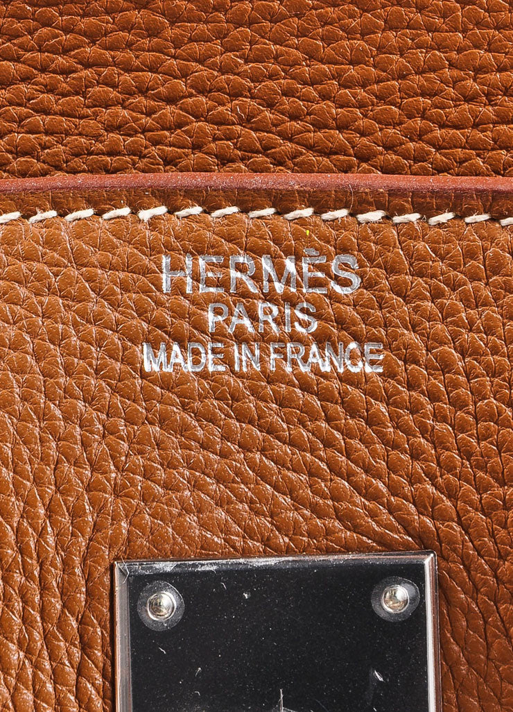 "Hermes Tan Brown Silver Tone Togo Leather 35 cm ""Birkin"" Bag Detail 5"
