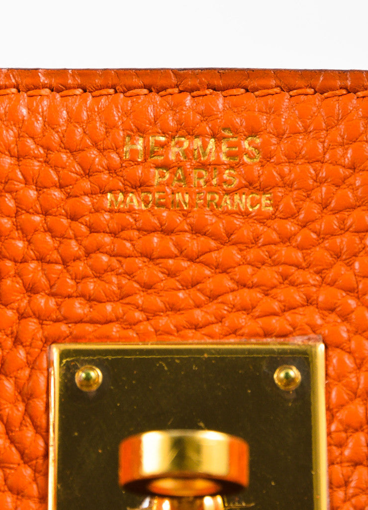"Hermes Tangerine Orange Clemence Grain Leather Top Handle ""Birkin 30"" Tote Bag Brand"