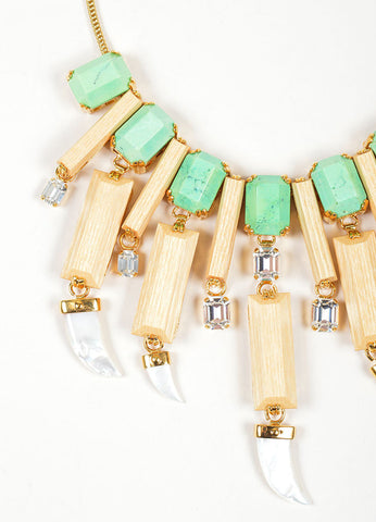 "Gold Toned and Green Embellished House of Lavande ""Everglades"" Necklace Detail"
