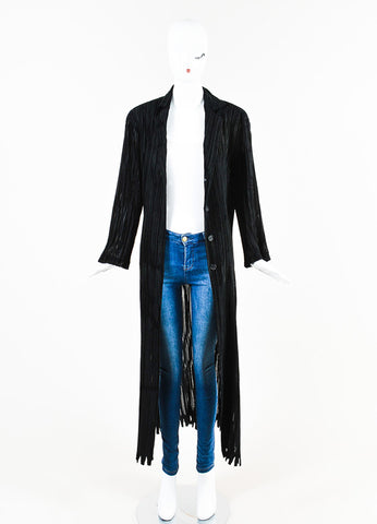 Issey Miyake Black Stretch Striped Velvet Trim Pleated Long Duster Jacket Frontview