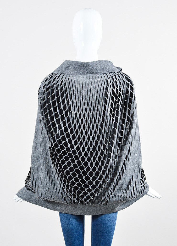 Grey and Black Jay Ahr Wool Blend Cut Outs Cape Backview
