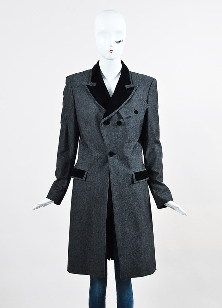 Black and Grey Jean Paul Gaultier Classique Velvet Collar Tail Coat Frontview 2
