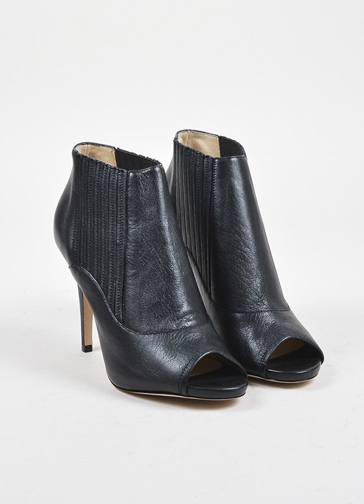 "Jimmy Choo Black Leather Peep Toe ""Brenna"" Stiletto Booties Frontview"