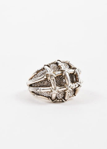 John Hardy Sterling Silver Diamond Embellished Bamboo Cocktail Ring Sideview
