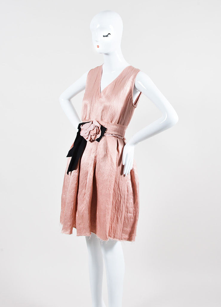 Blush Pink Lanvin Linen Textured Flower Bow Pleated Dress Sideview