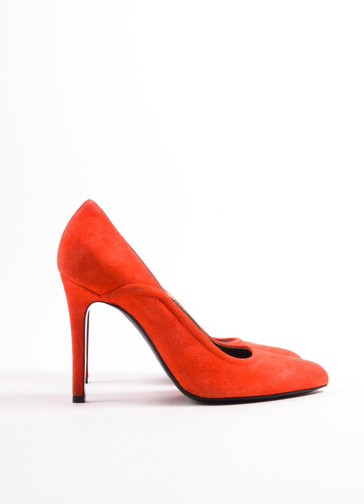 Lanvin Red Suede Pointed Toe Pumps Sideview