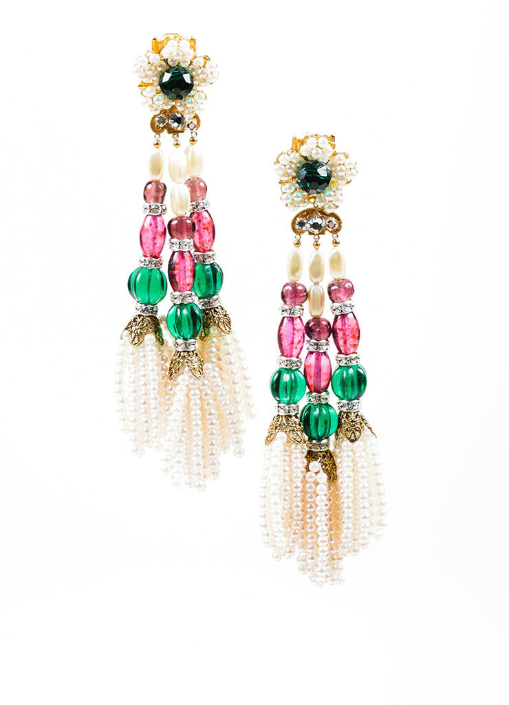 Multicolor Bead Lawrence VRBA Tassel Clip On Earrings Front
