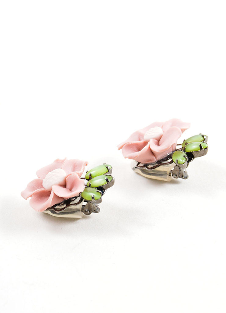 Lawrence Vrba Pink and Green Ceramic Clay Flower Earrings Sideview