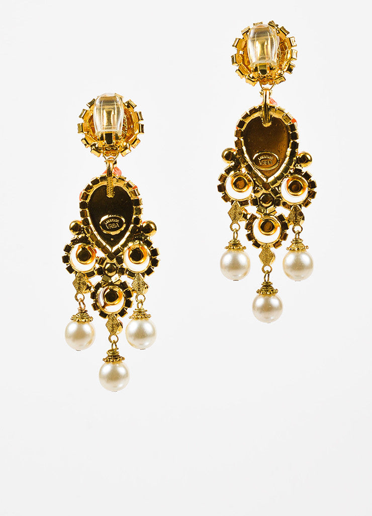 Lawrence VRBA Gold Toned and Coral Turtle Crystal Accent Chandelier Clip On Earrings Backview