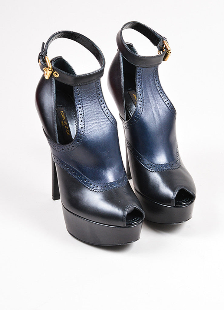 Black and Navy Louis Vuitton Leather Peep Toe Oxford Platform Heels Frontview